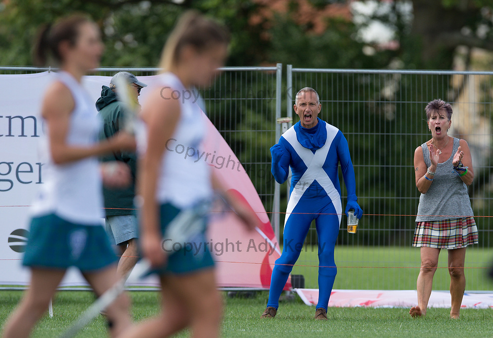 A spot of encouragement from the touchlines for Scotland against New Zealand  during their classifictaion game at the 2017 FIL Rathbones Women's Lacrosse World Cup, at Surrey Sports Park, Guildford, Surrey, UK, 20th July 2017.
