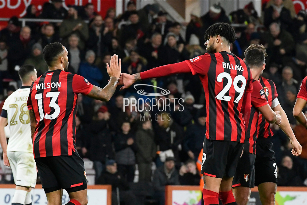 Goal - Philip Billing (29) of AFC Bournemouth celebrates after he scores a goal to give a 3-0 lead with Callum Wilson (13) of AFC Bournemouth during the The FA Cup match between Bournemouth and Luton Town at the Vitality Stadium, Bournemouth, England on 4 January 2020.