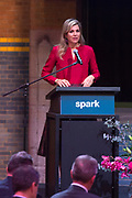 Koningin Maxima woont in de Beurs van Berlage de vijfde IGNITE conferentie van de Nederlandse ontwikkelingsorganisatie SPARK bij. De conferentie Rebuilding Futures richt zich op ondernemerschap en hoger onderwijs in de wederopbouw van landen na conflictsituaties.<br /> <br /> Queen Maxima attends the fifth IGNITE conference of the Dutch development organization SPARK in the Beurs van Berlage. The Rebuilding Futures conference focuses on entrepreneurship and higher education in the reconstruction of countries after conflict situations