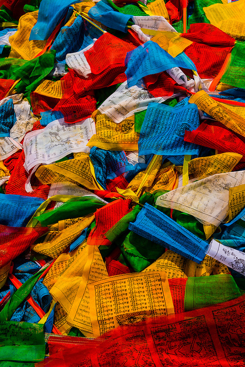 Prayer flags, Yambulakhang Palace, Tibet(Xizang), China.