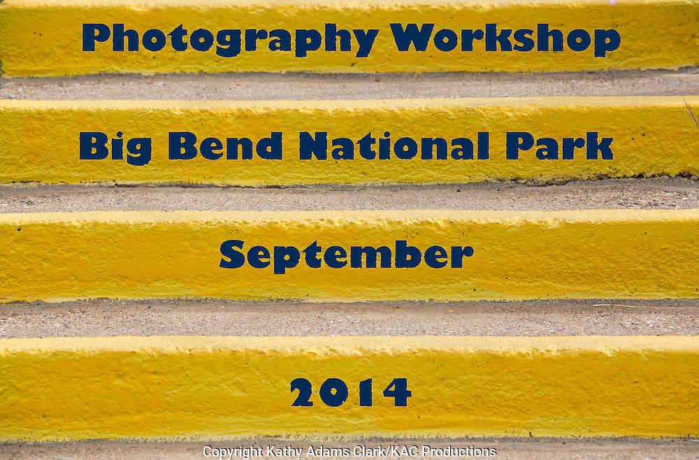 Title slide of Steps, optical illusion, color stripes, chisos mountain lodge; Big Bend National Park, Texas.