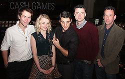 Harry Potter Star, Luna Lovegood, <br /> In the image -  <br /> Houdini Cast, Stuart Brennan, Evanna Lynch, Jamie Nichols, Peter Snee, And Expert, Paul Zenon.<br /> Actress, Evanna Lynch with another Harry today, Harry Houdini, Actor, Jamie Nichols, at the unveiling of a plaque to Houdini, at the Hippodrome, London, Seen Trying To Escape From The Original Handcuffs Used By Harry Houdini At His Show At The Hippodrome, London, In 1904, London, United Kingdom. Thursday, 3rd October 2013. Picture by i-Images