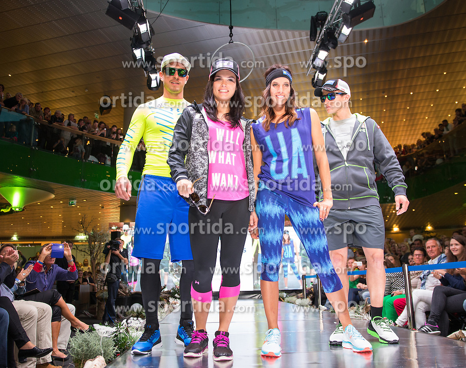 09.10.2015, Europapark, Salzburg, AUT, Praesentation der OeSV Winterkollektion, ??, im Bild v.l. Max Franz, Anna Fenninger, Julia Dujmovits, Christoph Nösig // during Fashion Show of the Presentation of OeSV winter collection of Austrian Ski Federation OeSV at the Europapark in Salzburg, Austria on 2015/10/09. EXPA Pictures © 2015, PhotoCredit: EXPA/ Johann Groder