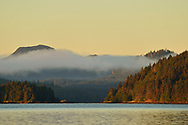 Dawns light illuminates the bay in front of Queen Charlotte City, Haida Gwaii, British Columbia.
