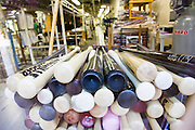 The Louisville Slugger baseball bat factory and museum producing wooden baseball bats - factory interior at Louisville, Kentucky, USA