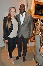 SOL CAMPBELL and his wife FIONA BARRATT at the PAD London 2015 VIP evening held in the PAD Pavilion, Berkeley Square, London on 12th October 2015.