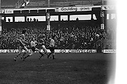 The ball flies through the air as Kerry makes a kick towards the goal during the All Ireland Senior Gaelic Football Semi Final, Dublin v Kerry in Croke Park on the 23rd of January 1977. Dublin 3-12 Kerry 1-13.