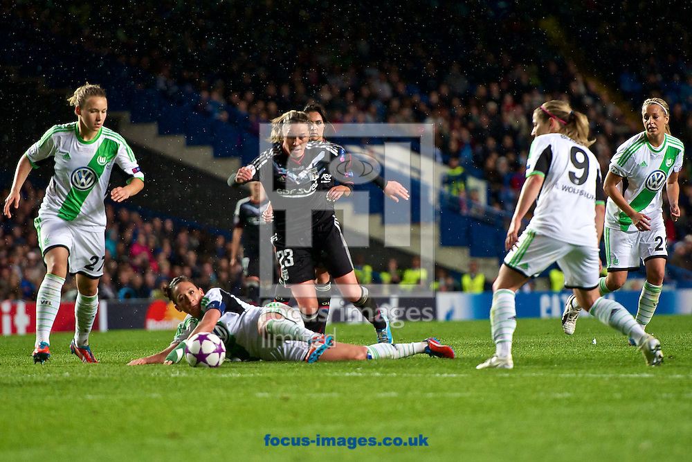 Picture by Ian Wadkins/Focus Images Ltd +44 7877 568959.23/05/2013.Camille Abily and Josephine Henning,Luisa Wensing,Anna Blässe and Lena Goessling of Wolfsburg during the UEFA Women's Champions League match at Stamford Bridge, London.