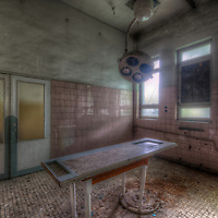 Old unused Soviet sports hospital in East Germany. In the mortuary.