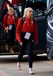 SOUTHAMPTON, ENGLAND - Friday, April 6, 2018: Wales' Charlie Estcourt arrives before the FIFA Women's World Cup 2019 Qualifying Round Group 1 match between England and Wales at St. Mary's Stadium. (Pic by David Rawcliffe/Propaganda)