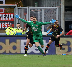 December 3, 2017 - Benevento, Campania/Napoli, Italy - Benevento, Italy. December 3, 2017: .Benevento goalkeeper Alberto Brignoli rejoices after the goal at Milan .The Benevento after 14 losses manages to equalize and make the first point in Serie A (Credit Image: © Fabio Sasso/Pacific Press via ZUMA Wire)