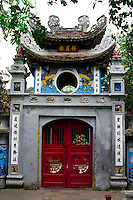 The front gate of the ngoc son temple on Hoan Kiem Lake in Hanoi.