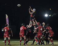 Dragons' Ollie Griffiths claims the lineout.<br /> <br /> Photographer Simon Latham/Replay Images<br /> <br /> Guinness PRO14 - Dragons v Edinburgh - Friday 23rd February 2018 - Eugene Cross Park - Ebbw Vale<br /> <br /> World Copyright © Replay Images . All rights reserved. info@replayimages.co.uk - http://replayimages.co.uk