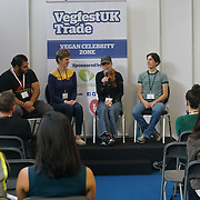 London, England, UK. 20th October 2017. Patrol Baboumian - Vegan strongman, Kate Strong - vegenfest triathlete,Karin Ridgers, Fiona Oakes - ultra marathon, Christine Vardaros - Vegan cyclist talk for Vegan Sports Stars at The First VegfestUK Trade at Olympia London, UK