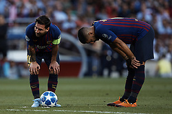 September 18, 2018 - Barcelona, Barcelona, Spain - Leo Messi (L) and Luis Suarez look on of FC Barcelona prior to a free kick during the UEFA Champions League group B match between FC Barcelona and PSV Eindhoven at Camp Nou on September 18, 2018 in Barcelona, Spain  (Credit Image: © David Aliaga/NurPhoto/ZUMA Press)