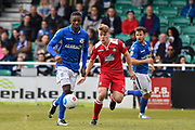 Wrexham AFC Forward, Iffy Allen (2) closes down Eastleigh Defender, Hakeem Odoffin (29) during the Vanarama National League match between Eastleigh and Wrexham FC at Arena Stadium, Eastleigh, United Kingdom on 29 April 2017. Photo by Adam Rivers.