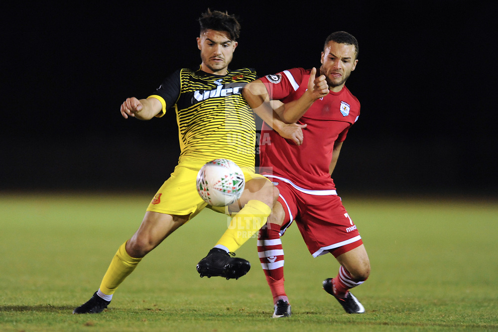 14/9/2018 - Callum Roberts of Newtown and Ryan Wignall of Connah's Quay during the JD Welsh Premier League fixture between Connah's Quay Nomads and Newtown AFC at Deeside Stadium<br /> <br /> Pic: Mike Sheridan/County Times/Newsquest North Wales<br /> MS220-2018