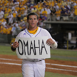09 June 2008:  LSU catcher Sean Ochinko holds up a Omaha sign to signal his team's upcoming trip to the College Baseball World Series in Omaha, Nebraska following a 21-7 victory by the LSU Tigers over the UC Irvine Anteaters in game three of the NCAA Baseball Baton Rouge Super Regional Alex Box Stadium in Baton Rouge, LA..