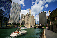 Chicago Riverwalk featuring Wrigley Building (2)