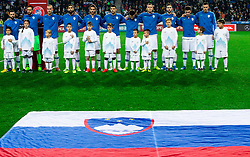Players of Slovenia listening to the National anthem during the 2020 UEFA European Championships group G qualifying match between Slovenia and Latvia at SRC Stozice on November 19, 2019 in Ljubljana, Slovenia. Photo by Vid Ponikvar / Sportida