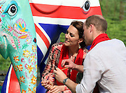 ASSAM (INDIA), April 13, 2016 <br /> <br /> British Prince William (R) and his wife Kate Middleton try to decorate a local handicrafts work during their visit to the Kaziranga National Park in Assam, northeastern state of India, on April 13, 2016. British Prince William and his wife Kate Middleton on Wednesday got a taste of India's wildlife by visiting the Kaziranga National Park in the northeastern state of Assam, home to two-thirds of the world's Indian one-horned rhinos.<br /> ©Exclusivepix Media