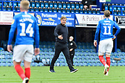 Oxford United manager Karl Robinson on the pitch at half time during the EFL Sky Bet League 1 Play Off leg 1 of 2 match between Portsmouth and Oxford United at Fratton Park, Portsmouth, England on 3 July 2020.