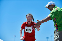 SO Russia athlete Valeriia Elokhina in action while long jump competition during third day of the Special Olympics World Games Los Angeles 2015 on July 27, 2015 at Loker Stadium on University of Southern California in Los Angeles, USA.<br /> USA, Los Angeles, July 27, 2015<br /> <br /> Picture also available in RAW (NEF) or TIFF format on special request.<br /> <br /> For editorial use only. Any commercial or promotional use requires permission.<br /> <br /> Adam Nurkiewicz declares that he has no rights to the image of people at the photographs of his authorship.<br /> <br /> Mandatory credit:<br /> Photo by &copy; Adam Nurkiewicz / Mediasport