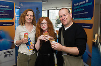 22/07/2015 repro free Rachel , Niamh and Sean Maguire from Kilconnolly, at the Ulster Bank sponsored evening at The Galway International Arts Festival's production of Frank McGuinnesses'  The Match Box, starring Cathy Belton At the Town Hall Theatre. Photo:Andrew Downes.