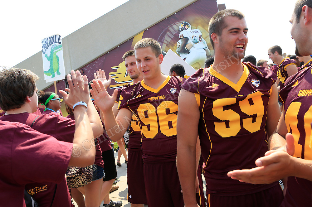 Leadership Safari held it's traditions day in Kelly/Shorts Stadium on the Central Michigan University campus Wednesday. Safari students filled some sections of the stands on the west side and were introduced to CMU sports teams, coaches, the marching band. They also learned various cheers and how important they were to the success of the teams. Photo by Steve Jessmore/Central Michigan University