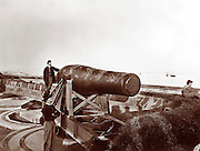 """Guarding the mouth of the Chesapeake Bay and Hampton Roads at Fort Monroe, Virginia. The """"Lincoln Gun,"""" a 15-inch Rodman Columbiad during the Civil War. Union Coastal Artillery"""