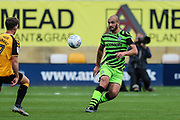 Forest Green Rovers Farrend Rawson(6) passes the ball forward during the EFL Sky Bet League 2 match between Cambridge United and Forest Green Rovers at the Cambs Glass Stadium, Cambridge, England on 7 September 2019.