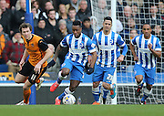 Kazenga LuaLua, Brighton midfielder during the Sky Bet Championship match between Brighton and Hove Albion and Wolverhampton Wanderers at the American Express Community Stadium, Brighton and Hove, England on 14 March 2015.