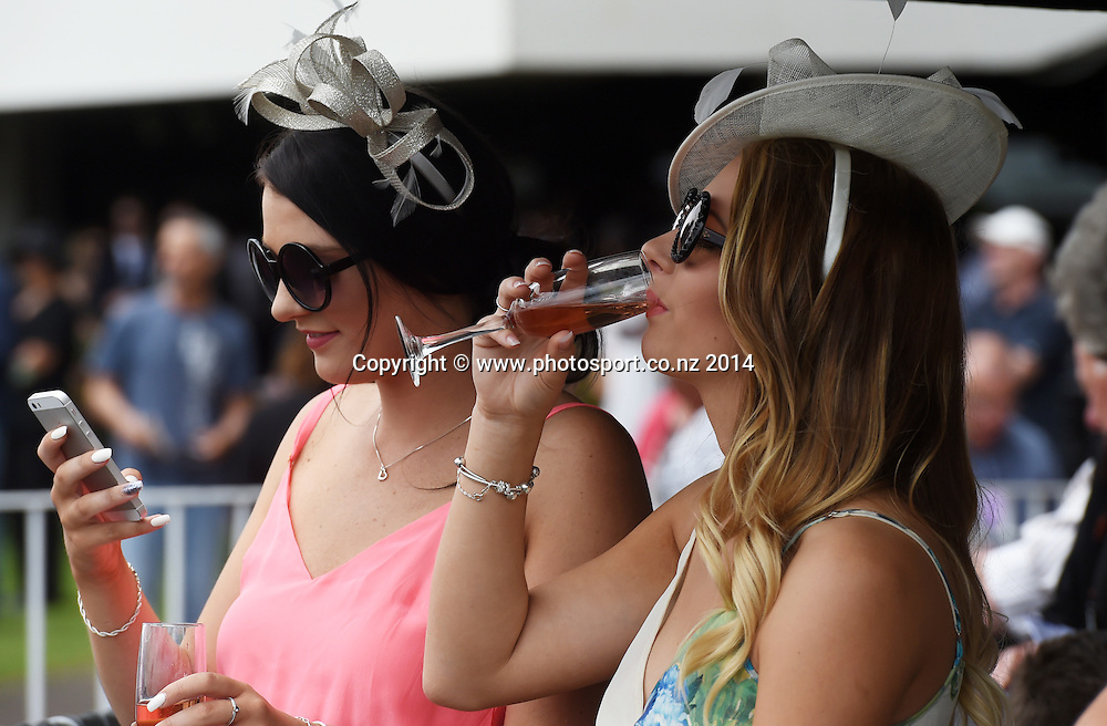 Punters at the Boxing Day Races at Ellerslie Racecourse in Auckland. Horse Racing. New Zealand. Friday 26 December 2014. Photo: Andrew Cornaga/www.photosport.co.nz