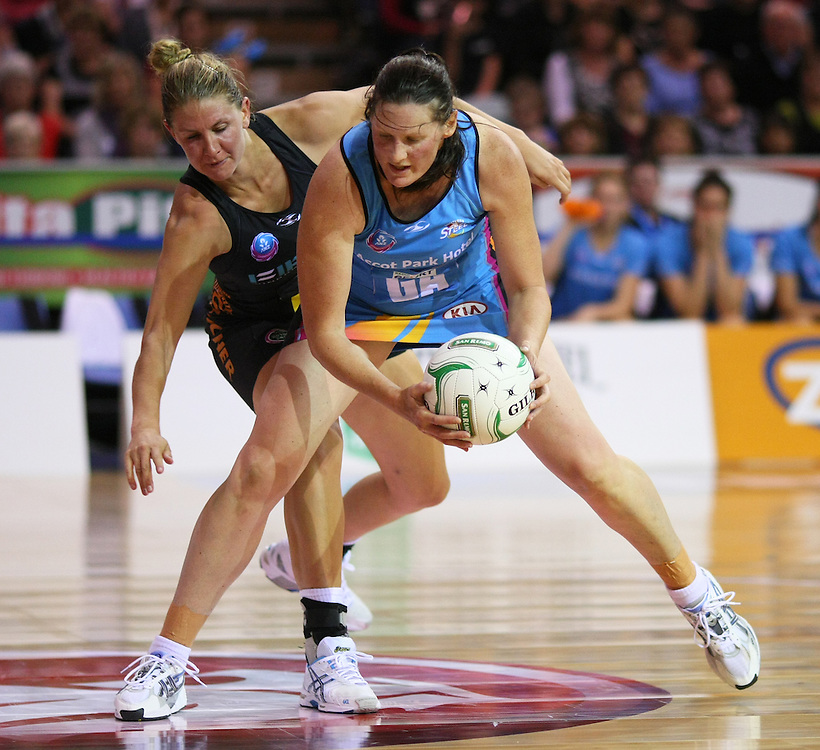Magic's Casey Williams, left, and Southern Steel's Donna Wilkins compete for the ball in the ANZ Netball Championships at Invercargill Velodrome, Invercargill, New Zealand, Monday, April 02, 2012. Credit:SNPA / Dianne Manson
