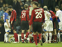 Photo: Aidan Ellis.<br /> Blackburn Rovers v Bayer Leverkusen. UEFA Cup, 2nd Leg. 22/02/2007.<br /> Rovers Stephen Warnock (L) touches fore heads with Bayer's Marco Babic as tempers fray near the end of the game.