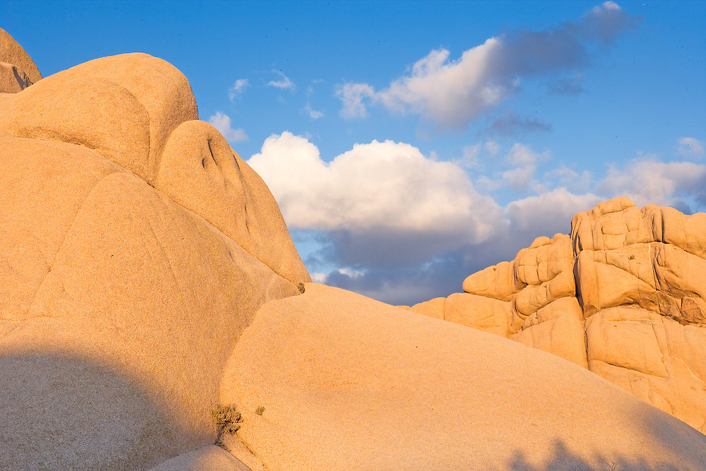 warm evening light on granite boulders in Joshua Tree Nation Park, CA.