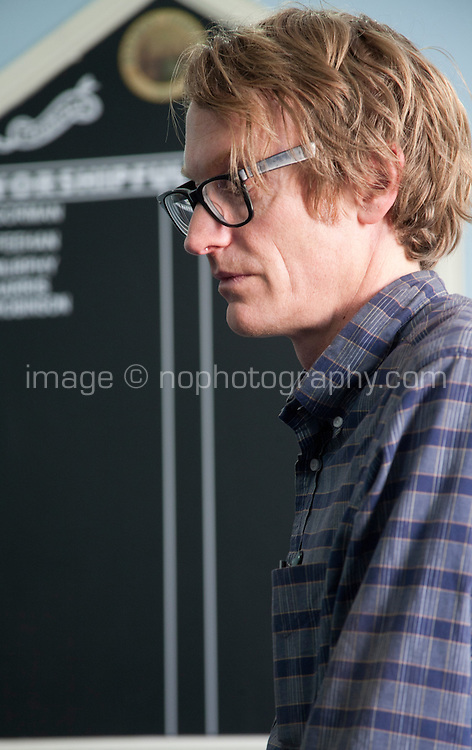 Writer Patrick deWitt speaking at the Dalkey Book Festival, Dalkey Village, Dublin, Ireland, Saturday 13th June 2015