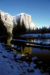 CA: Yosemite National Park, El Capitan in winter               .Photo Copyright: Lee Foster, lee@fostertravel.com, www.fostertravel.com, (510) 549-2202.cayose226.