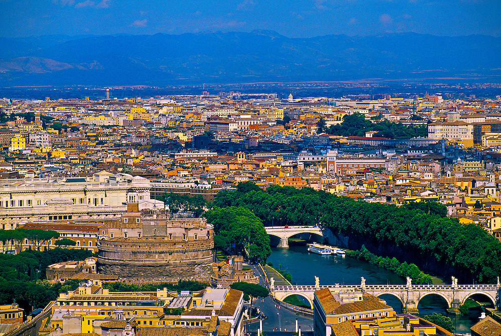 View to Castel Sant' Angelo and the Tiber River from the dome of St. Peter's Basilica, Vatican, Rome, Italy