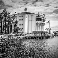Avalon Casino Catalina Island black and white picture. The Avalon Casino is a historic art deco movie theatre built in 1929 by the Wrigley family. Catalina Island is a popular travel desination off the coast of Southern California in the United States.