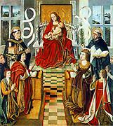 Madonna de los Reyes Católicos, painted 1490 - 1495. A group portrait of King Ferdinand of Aragon (left, kneeling) and Queen Isabella of Castilia (right). Behind Ferdinand is Tomas de Torquemada, the inquisitador major of Spain.anonymous painter, 1490