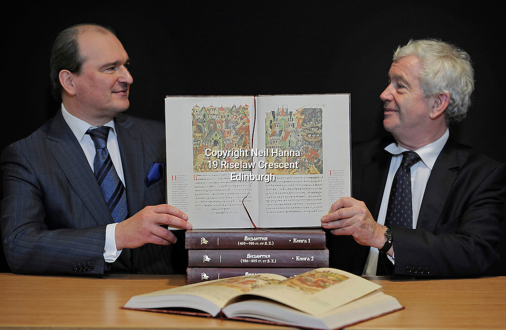 UNDER STRICT EMBARGO UNTIL 0001 GMT MONDAY 15 FEBRUARY 2016<br />  <br /> Tsar&rsquo;s classic text is gift to scholars of Russia&rsquo;s past<br />  <br /> A lavish reproduction of an epic medieval text has been gifted to the University of Edinburgh.<br />  <br /> A newly created copy of The Illustrated Chronicles of Ivan the Terrible was presented by the Russian Consul General in Edinburgh, Andrey A. Pritsepov.<br />  <br /> The original 10-volume work was created between 1568 and 1576, but was separated and lost for more than 400 years. Only recently has the entire text been recovered, compiled in order and reproduced by a charity called the Society of Ancient Literature Lovers.<br />  <br /> With 17,000 illustrations, the text will be a key resource for staff and students seeking to better understand one of the most turbulent periods in Russian history.<br />  <br /> <br /> Pic caption:<br /> Russian Consul General in Edinburgh, Andrey A. Pritsepov and University&rsquo;s Principal, Professor Sir Timothy O&rsquo;Shea look at an illustration of the Trojan Horse.<br />  <br /> <br />  <br /> <br />  Neil Hanna Photography<br /> www.neilhannaphotography.co.uk<br /> 07702 246823