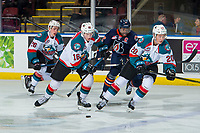 KELOWNA, CANADA - DECEMBER 29: Michael Farren #16 of the Kelowna Rockets skates with the puck against the Kamloops Blazers  on December 29, 2018 at Prospera Place in Kelowna, British Columbia, Canada.  (Photo by Marissa Baecker/Shoot the Breeze)