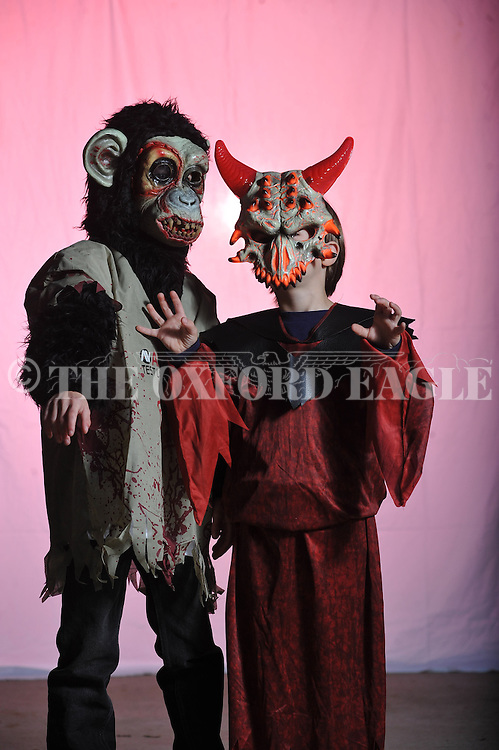 William Lewis (left) and Avery Lewis poses on Halloween in Oxford, Miss. on Wednesday, October 31, 2012.