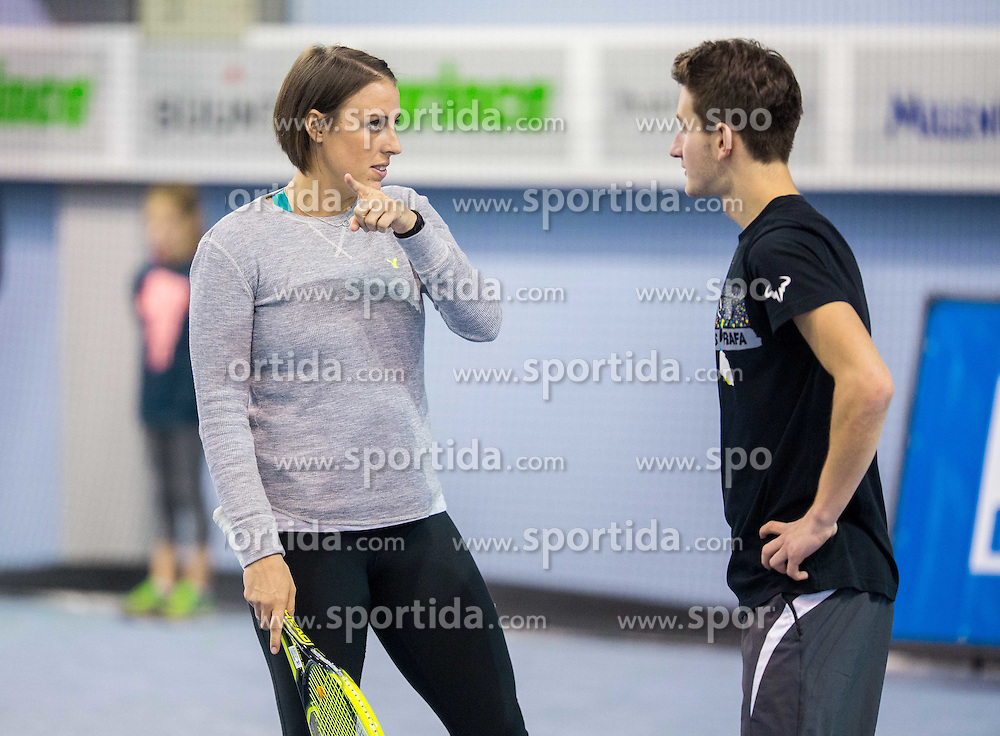 Andreja Klepac and Grega Kokalj at Tennis Exhibition after the Slovenian Tennis personality of the year 2014 annual awards presented by Slovene Tennis Association TZS , on December 6, 2014 in Millenium Centre, BTC, Ljubljana, Slovenia. Photo by Vid Ponikvar / Sportida