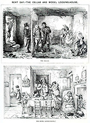 Rent Day - The Cellar and Model Lodging-House.'  The difference in accommodation for the urban worker and family between the casual labourer, top, and the artisan.  John Leech cartoon from 'Punch', London, 1850.