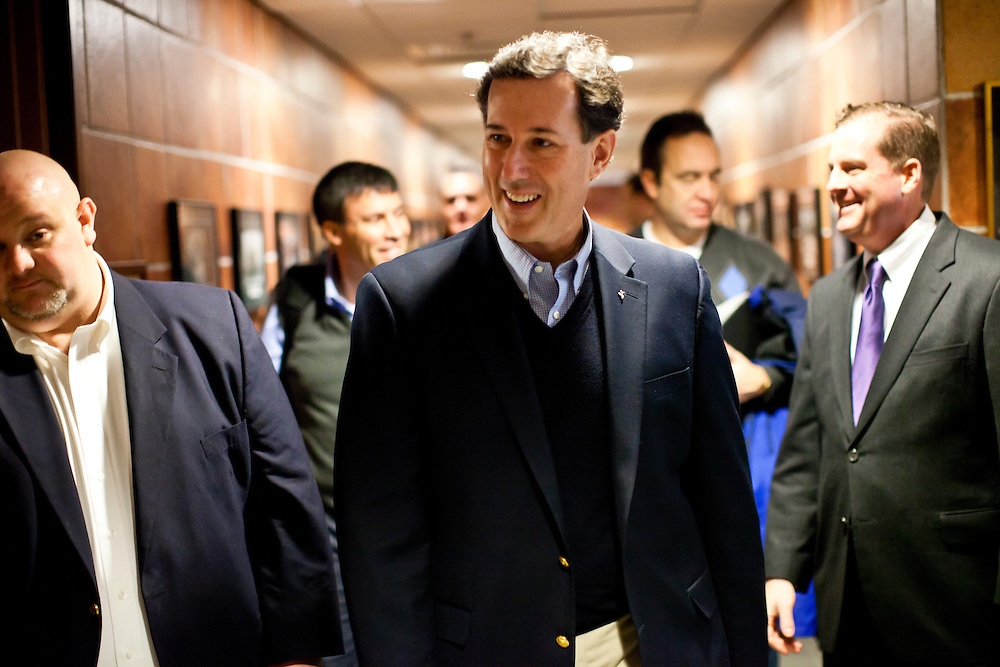 """Republican presidential candidate Rick Santorum arrives to participate in """"The Electorate and the Economy"""" forum at St. Anselm College on Saturday, January 7, 2012 in Manchester, NH. Brendan Hoffman for the New York Times"""