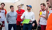 DELFT - coach Pasha Gademan (Almere) , assistent-coach Bert Remmerswaal (Almere)  tijdens de zaalhockey hoofdklasse competitiewedstrijd Oranje Rood-Almere . COPYRIGHT KOEN SUYK