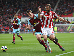 Kevin Long of Burnley (L) and Erik Pieters of Stoke City in action - Mandatory by-line: Jack Phillips/JMP - 22/04/2018 - FOOTBALL - Bet365 Stadium - Stoke-on-Trent, England - Stoke City v Burnley - English Premier League