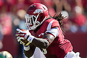 FAYETTEVILLE, AR - OCTOBER 25:  Alex Collins #3 of the Arkansas Razorbacks runs the ball against the UAB Blazers at Razorback Stadium on October 25, 2014 in Fayetteville, Arkansas.  The Razorbacks defeated the Blazers 45-17.  (Photo by Wesley Hitt/Getty Images) *** Local Caption *** Alex Collins